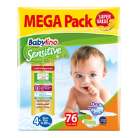 BABYLINO - MEGA PACK Babylino Sensitive Maxi Plus No4+ (9-20 Kg) - 76 πάνες