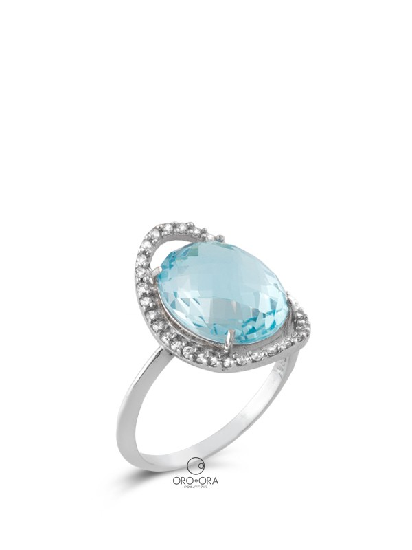 Ring White Gold K14 with Blue Topaz and Zircon