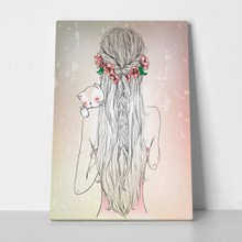 Hand drawn longhair young girl with cat 497257435 a