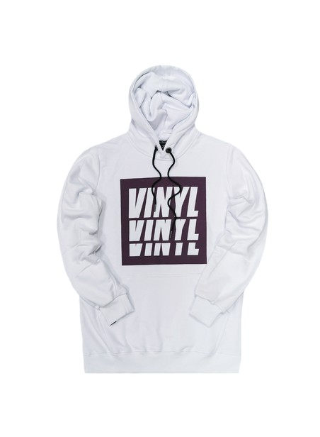 VINYL ART CLOTHING WHITE BASIC HOODIE WITH BOX LOGO