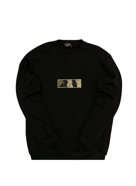 CLVSE SOCIETY BLACK CREW NECK WITH CAMO PATCH