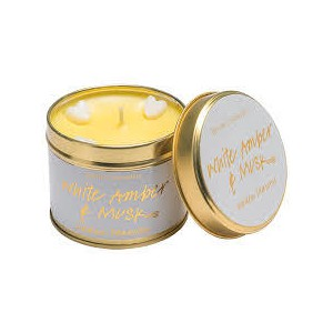 White amber   musk tinned candle