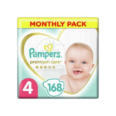 PAMPERS - MONTHLY PACK PREMIUM CARE No4 (8-14kg) - 168 πάνες