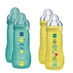 Mam baby bottle double pack boy