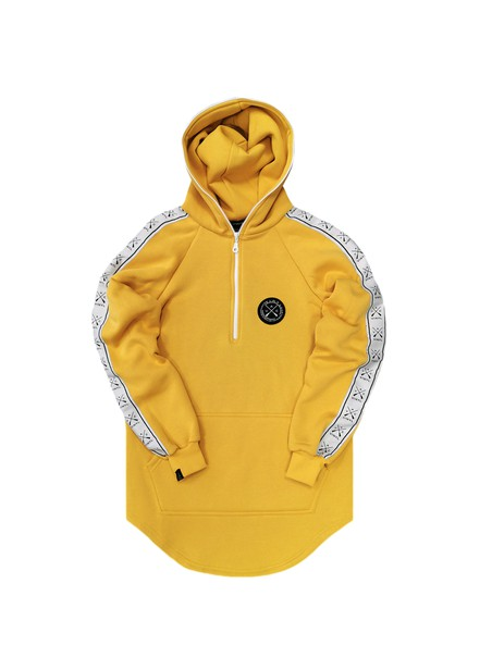 VINYL ART CLOTHING YELLOW TAPED SIDE HOODIE WITH HALF-ZIP