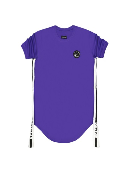 VINYL ART CLOTHING PURPLE SIDED STRIPE T-SHIRT