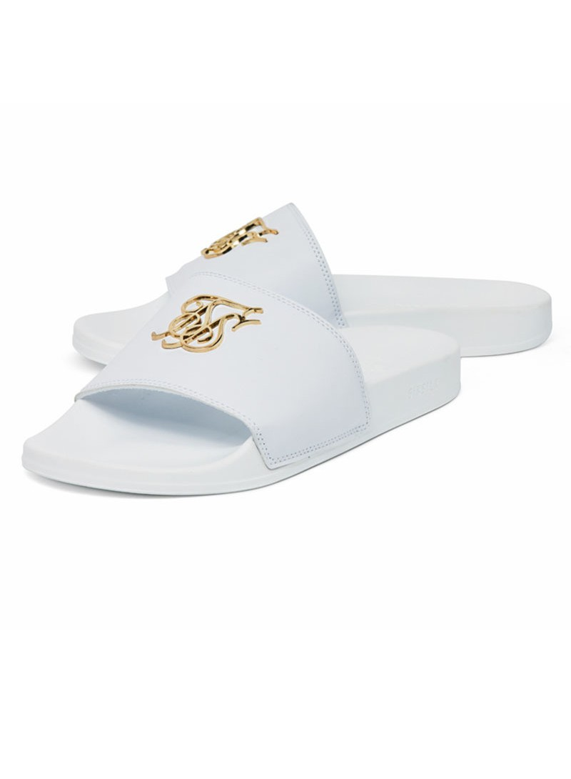 SikSilk Roma Lux Slides - White & Gold