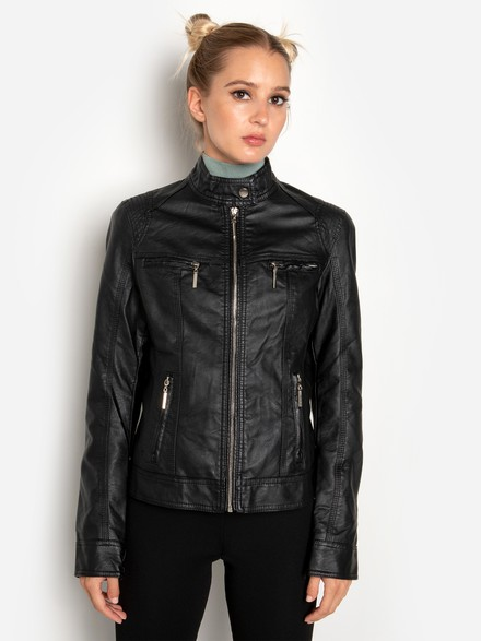 High neck biker jacket
