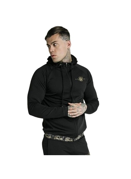 SikSilk Scope Tape Zip Through Hoodie –Black