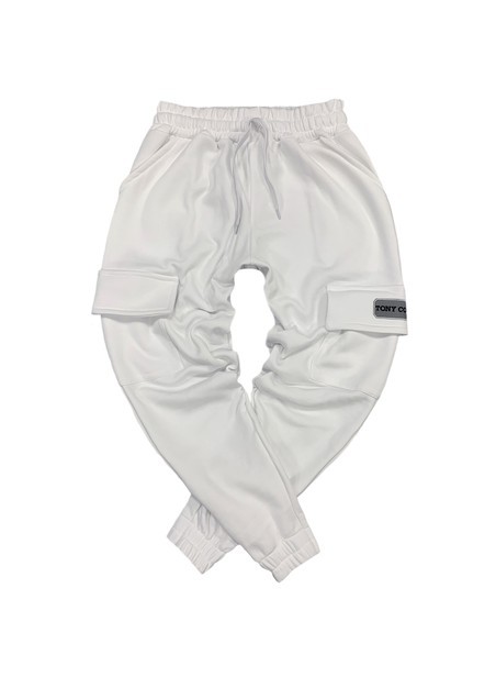TONY COUPER WHITE POCKET TRACKPANTS WITH NEON PATCH