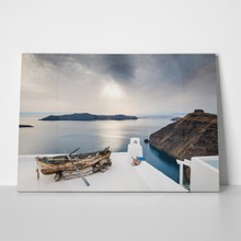 Beautiful sunset on santorini island greece 215244448 a