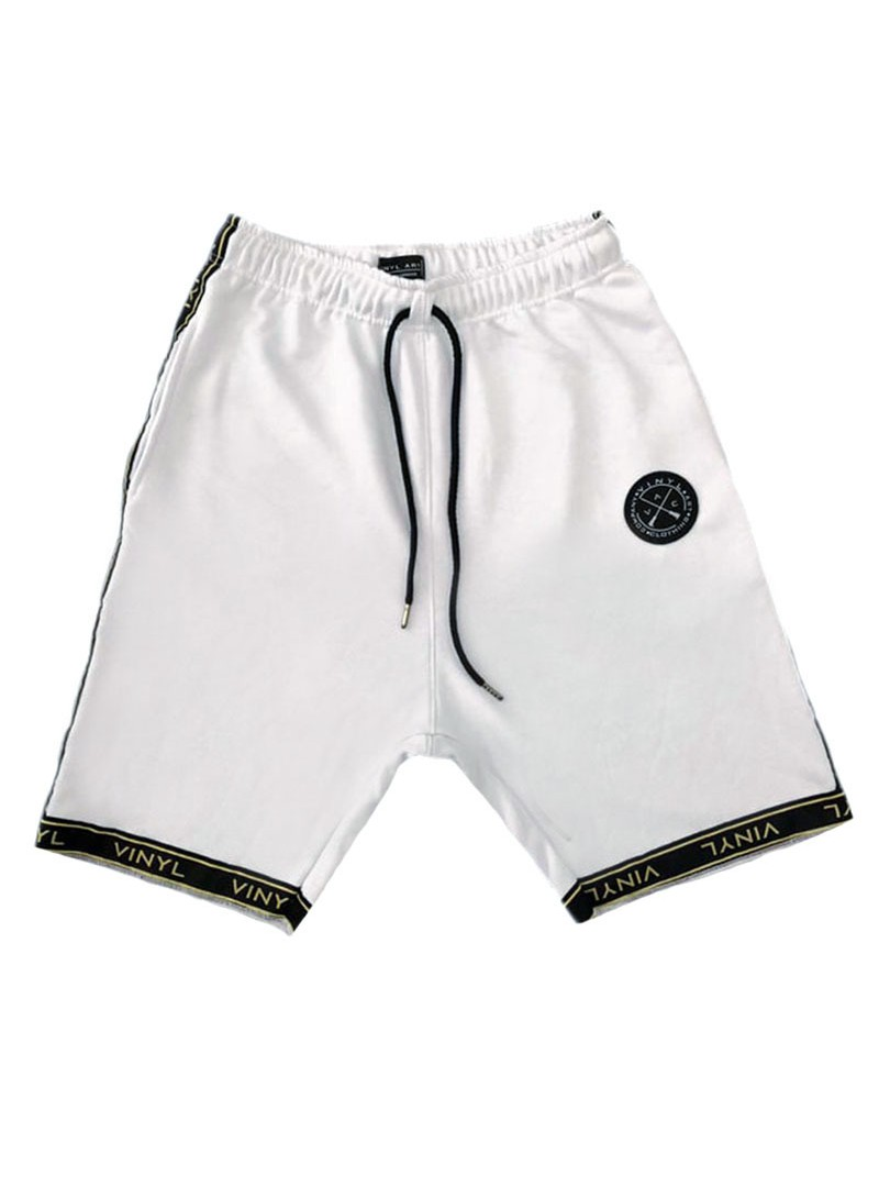 VINYL ART CLOTHING WHITE LOGO TAPED SHORTS