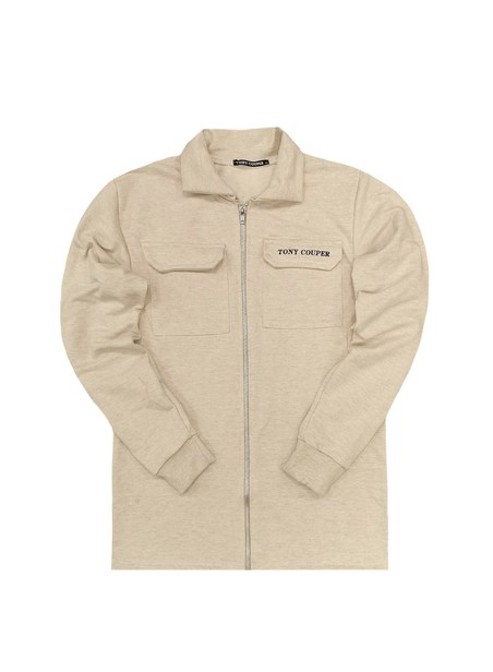 TONY COUPER BEIGE TS POCKET ZIP THROUGH HOODIE