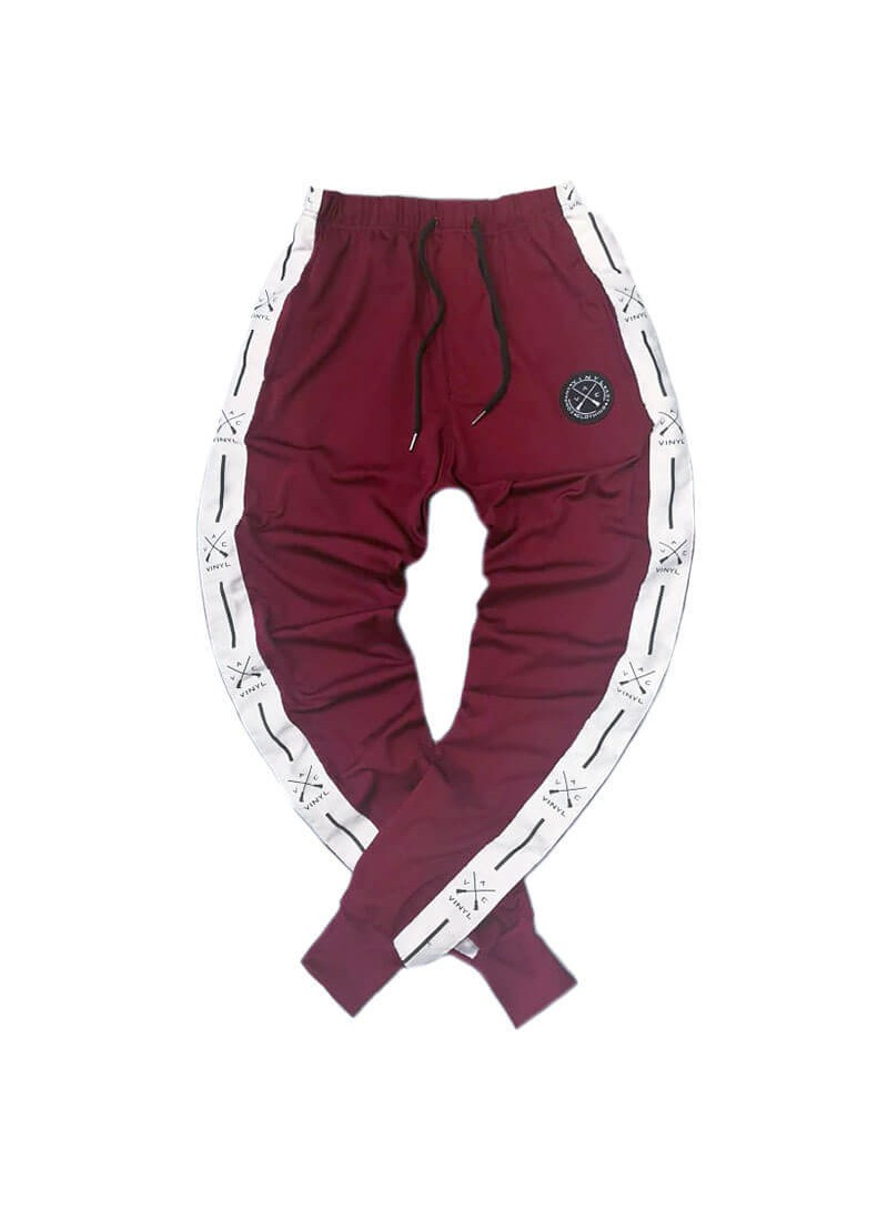 VINYL ART CLOTHING PANTS WITH TAPING BORDEAUX