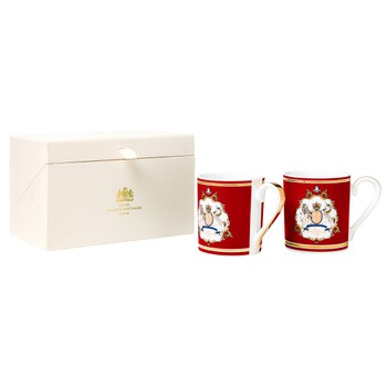 GB Emblem Red Mugs with Gold Details |Set of 2