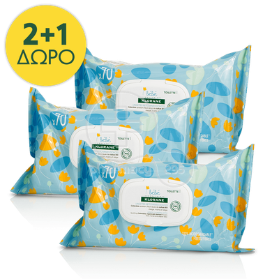 KLORANE - PRΟMO PACK 2+1 ΔΩΡΟ BEBE Lingettes Nettoyantes Douces - 70τεμ.