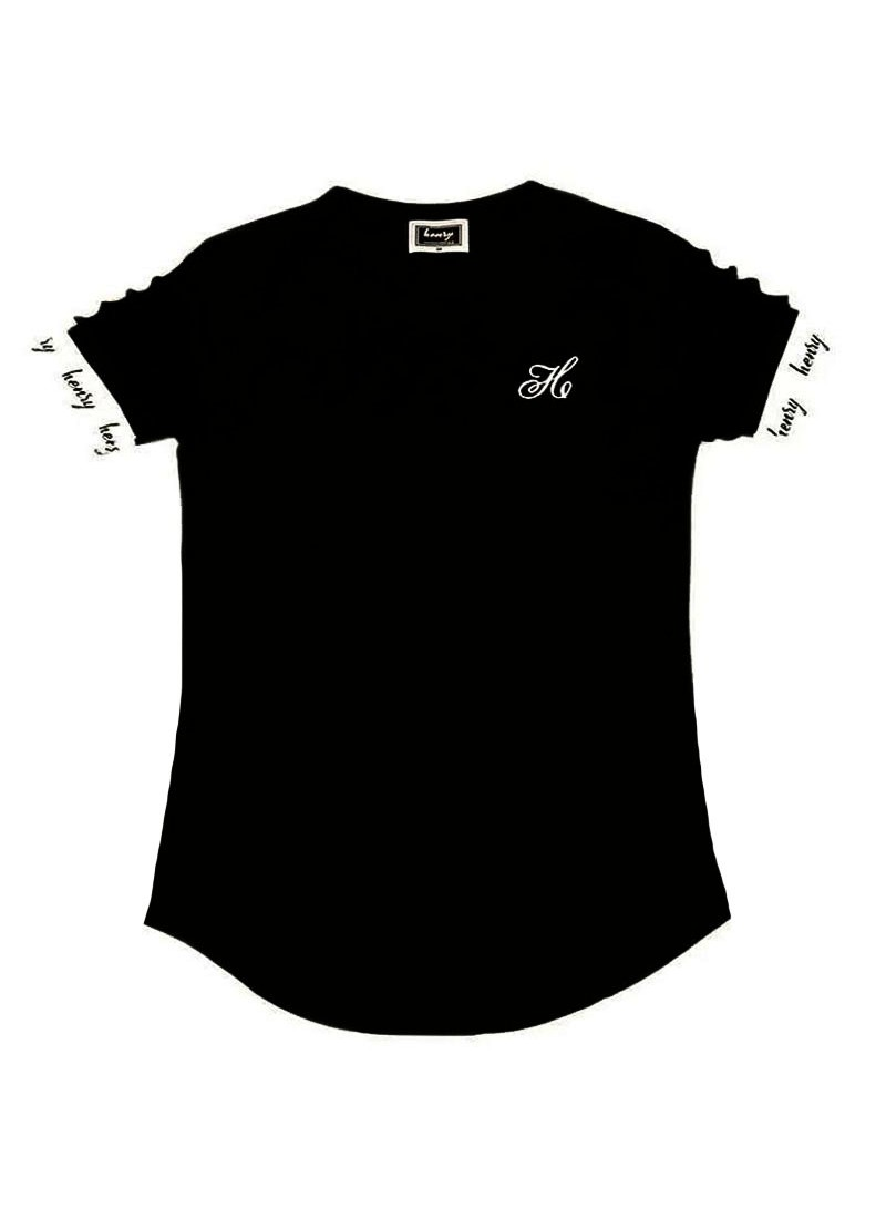 HENRY CLOTHING BLACK T-SHIRT WITH ELASTICATED SLEEVES