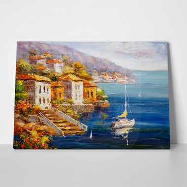 Oil painting harbor a