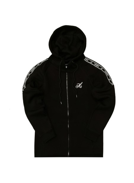 HENRY CLOTHING BLACK LOGO TAPED PANEL ZIP THROUGH HOODIE