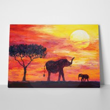 African elephants oil painting 259347005 a