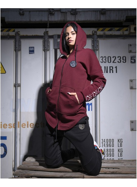 VINYL ART CLOTHING BORDEAUX FULL-ZIP HOODIE WITH SUEDE LOGO SLEEVES