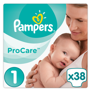 Pampers procare size1 38s