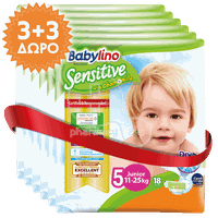 BABYLINO - PROMO PACK 3+3 ΔΩΡΟ Babylino Sensitive Junior No5 (11-25 Kg) - 18 πάνες