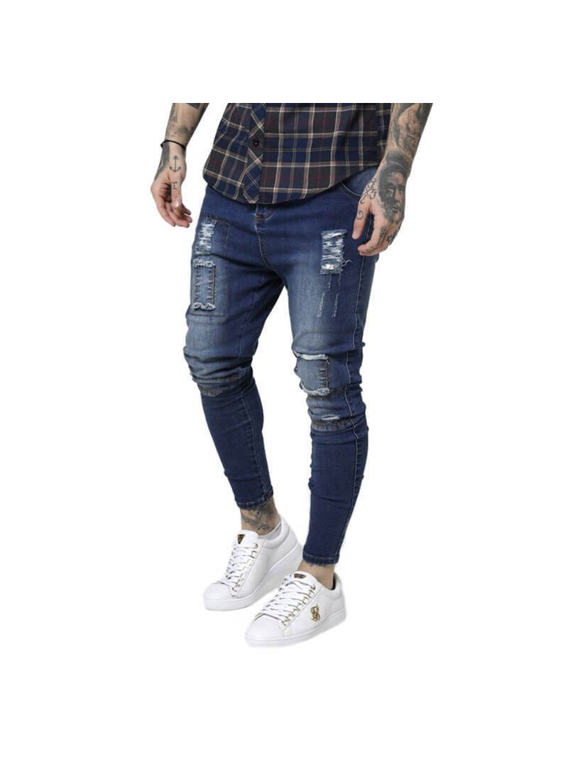 SikSilk Drop Crotch Patch Denims - Rich Midstone Blue