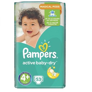 PAMPERS Active baby dry πάνα για μωρά N4+ 9-16kg Jumbo pack 53τεμάχια