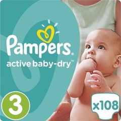 Pampers Active Baby-Dry No3 Giant Pack (5-9kg) 108 τμχ