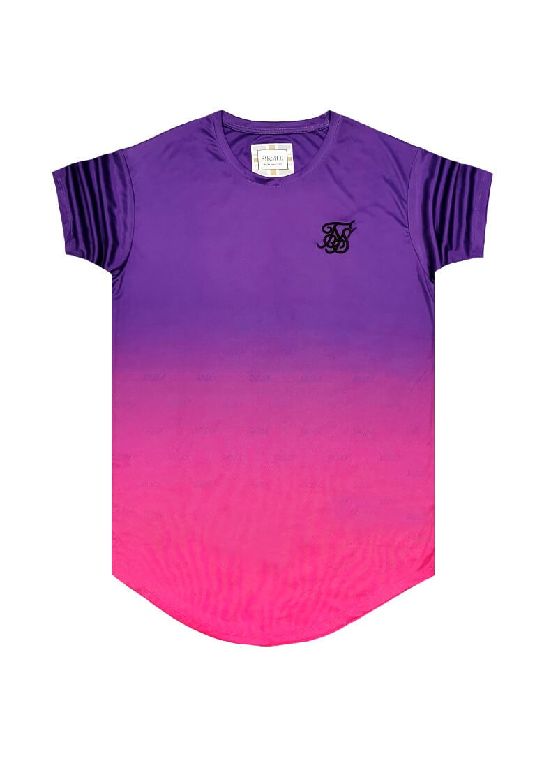 SikSilk S/S Curved Hem Tee - Purple & Pink