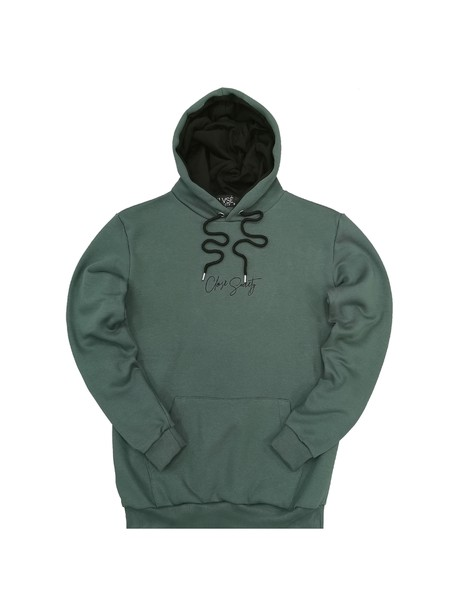 CLVSE SOCIETY PETROL HOODIE WITH CENTER LOGO