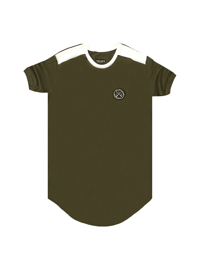 VINYL ART CLOTHING KHAKI CONTRAST SLEEVE STRIPE T-SHIRT