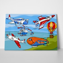 Cartoon vector illustration of funny planes and aircraft characters group