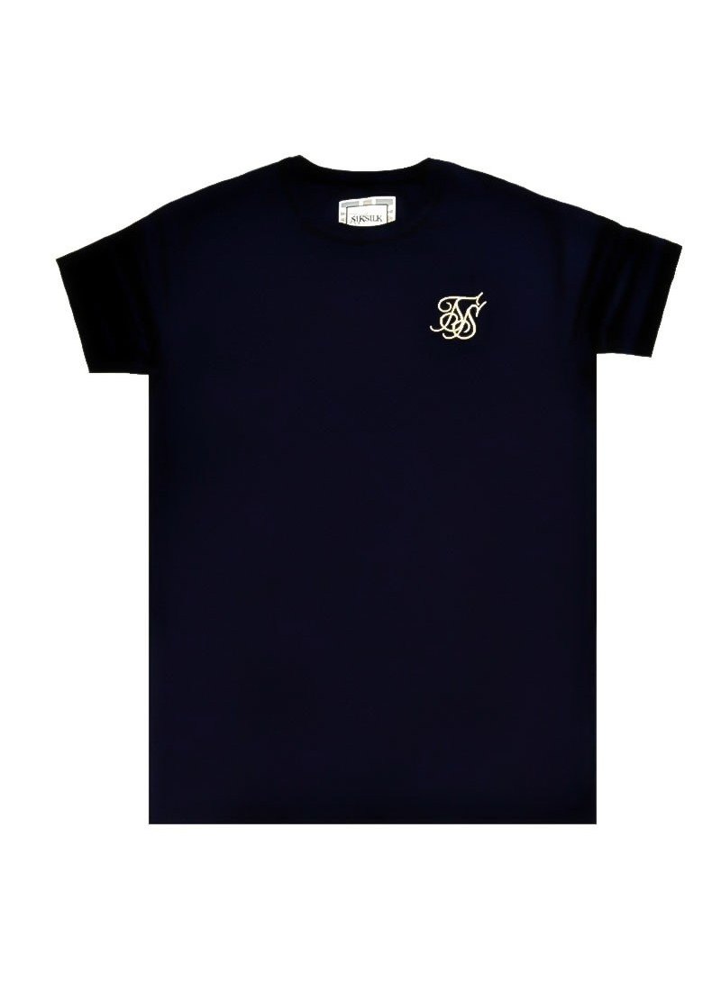 SikSilk Reverse Collar Box Tee - Navy