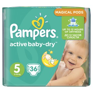 PAMPERS Active baby-dry N5 πάνα για μωρά από 11-18 κιλά 36τεμάχια