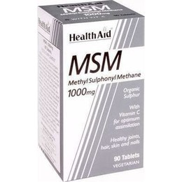 Health Aid MSM 1000mg with Vitamin C, 90 tabs