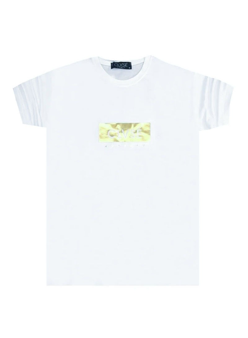 CLVSE SOCIETY WHITE T-SHIRT WITH GOLD REFLECTIVE FRAME
