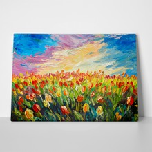 Oil painting tulips field 507171211 a