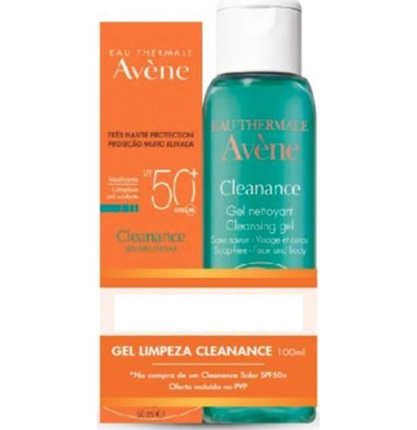 AVENE Sun Promo Cleanance Sunscreen SPF50+ ( 50ml ) & Δώρο Cleanance Cleansing Gel ( 100ml )
