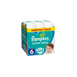 Pampers Active Baby Πάνες Μέγεθος 6 (Extra Large) 15Kg+ 124 τεμάχια