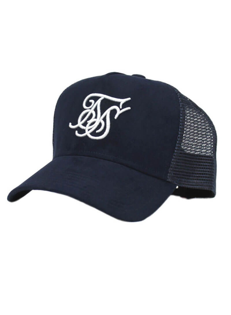 SikSilk Suede Bent Peak Trucker – Navy
