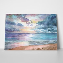 Hand drawn watercolor illustration seascape sunset 724294762 a