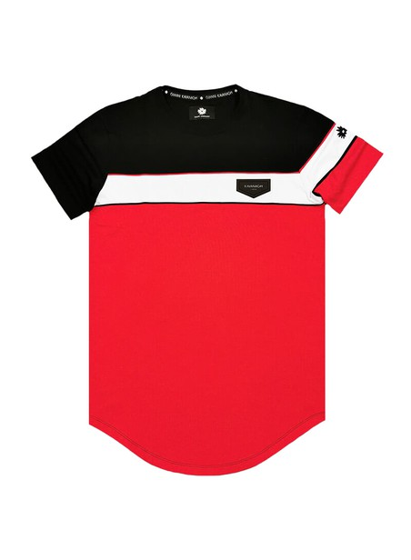 Gianni Kavanagh Red Asymmetric Block Tee With Piping Detail