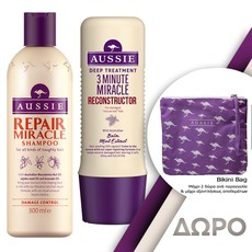 Aussie Repair Miracle Shampoo Σαμπουάν 300ml + 3 Minute Miracle Reconstructor Εντατική Μάσκα Μαλλιών 250ml.