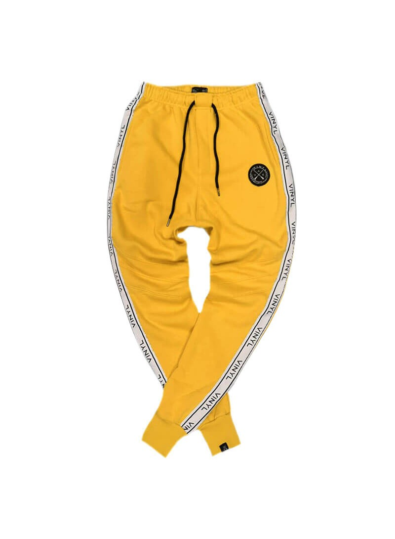 VINYL ART CLOTHING PANTS WITH TAPING YELLOW