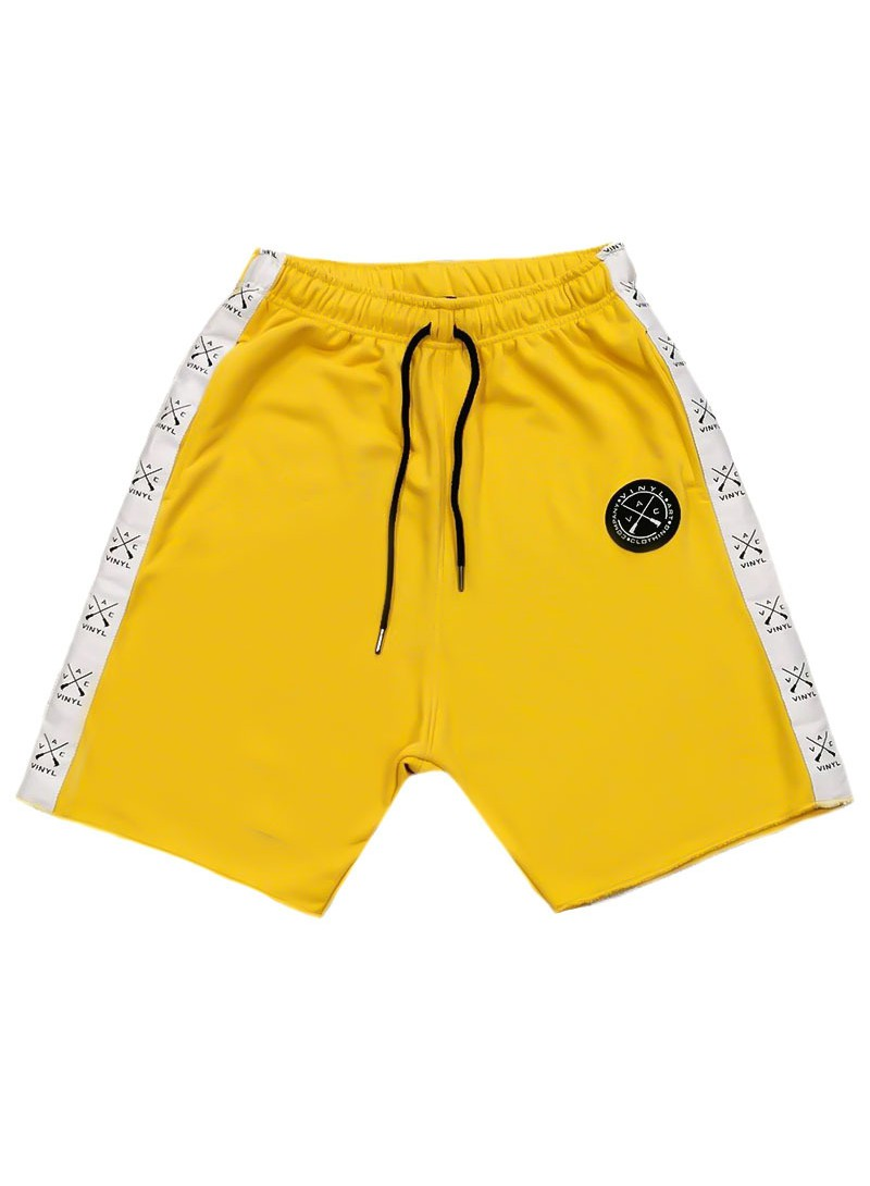 VINYL ART CLOTHING YELLOW STRIPE SHORTS