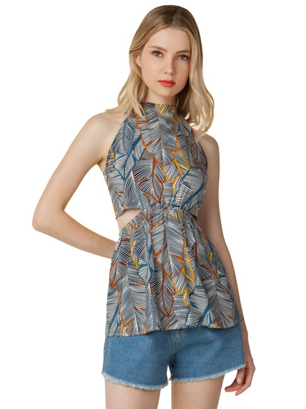 Floral top with cut out at the back