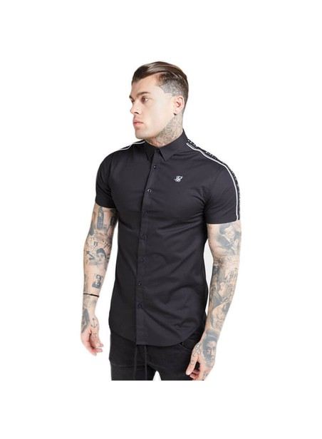 SikSilk S/S Piped Tape Shirt – Black
