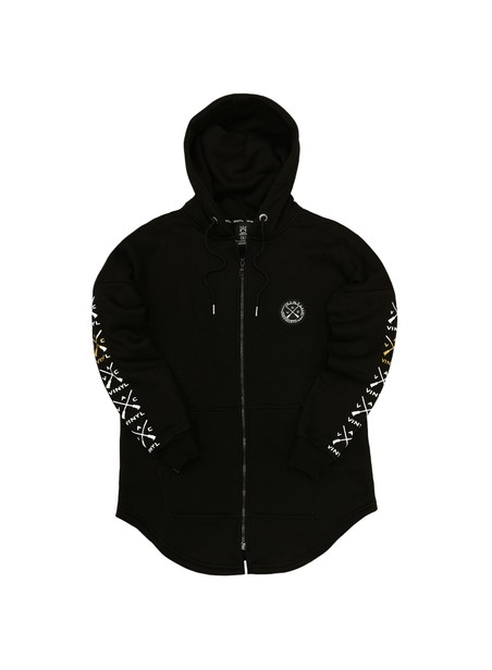 VINYL ART CLOTHING FULL-ZIP HOODIE WITH SUEDE LOGO SLEEVES